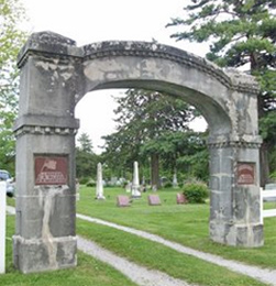 Gate to the Unionville Cemetery, where Mamie Peterson is buried.