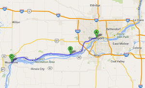 This Google map shows Davenport (A), Buffalo (B), and Muscatine (C) along the Mississippi.