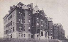 Postcard view of Mercy Hospital, where Daniel Kelleher died.