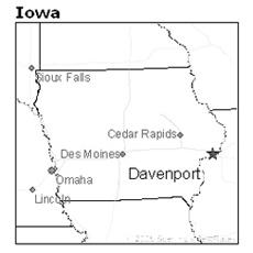 location of Davenport, Iowa