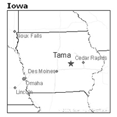 location of Tama, Iowa