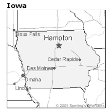 location of Hampton, Iowa
