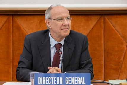 Francis Gurry was re-elected on 8 May © WIPO 2014. Photo: Emmanuel Berrod.