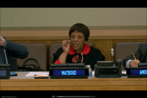 Precious Malbona makes a point during the side event