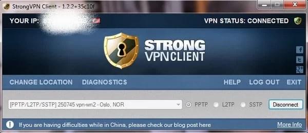 Strong VPN screenshot