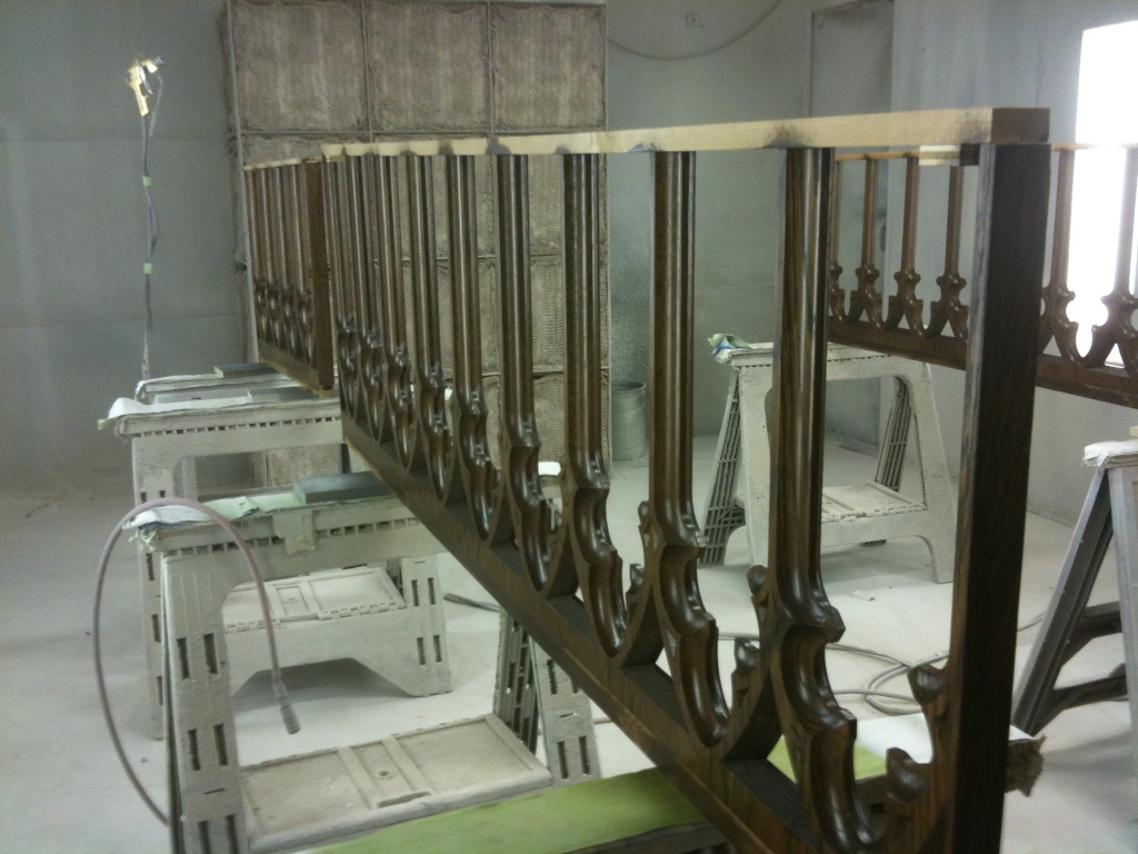 Sections of the altar rail in the painting room.