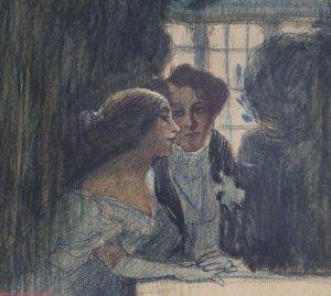 George Sand et Alfred de Musset par Célestin NANTEUIL, qui participa aux illustrations de la célèbre édition Furne des œuvres de Balzac.