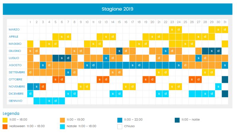 Calendario e orari di apertura Cinecittà World