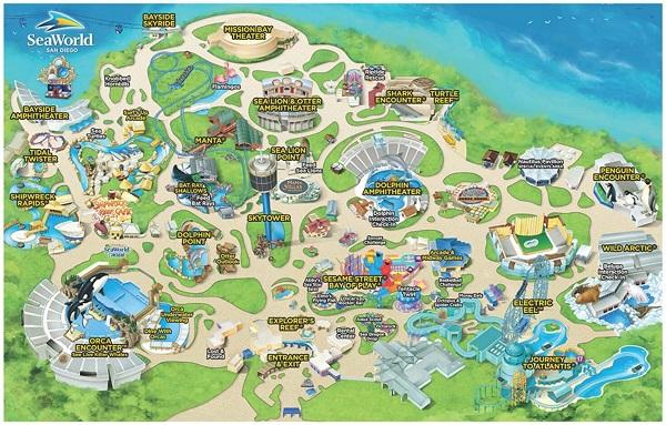 Mappa attrazioni SeaWorld San Diego