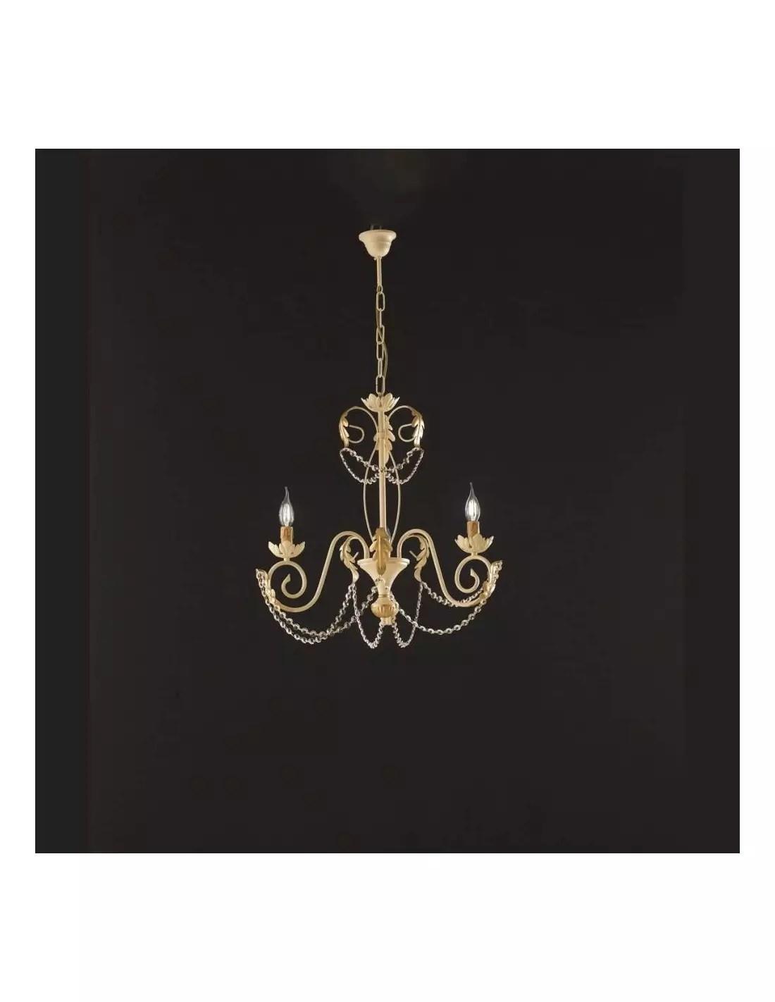 Primavera è un lampadario in metallo decorato a mano e diffusori in vetro, disponibile in 2 modelli: Lampadario A Sospensione In Ferro Battuto Avorio Oro 3 Punti Luce Damasco Bonetti
