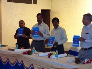 Dr. Channamallayya, the district health officer of Tumkur releasing the training manual for PHC doctors on management of Diabetes and Hypertension
