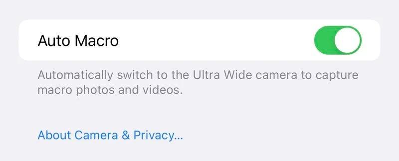 Auto-macro option iOS 15.1 beta 3