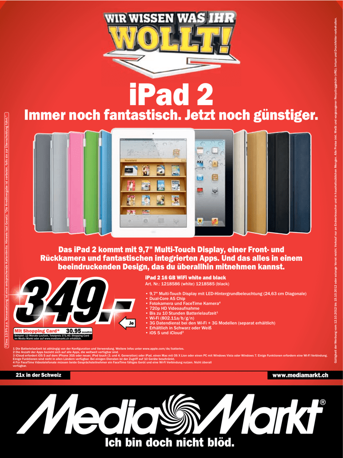 ipad 2 bei media markt f r nur fr 349 iphoneblog. Black Bedroom Furniture Sets. Home Design Ideas