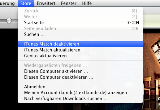 iTunes Match in iTunes deaktivieren