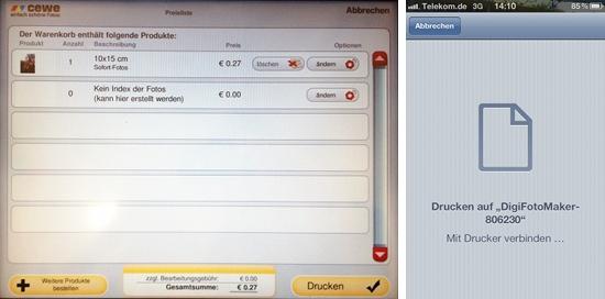 Anzahl der Abzüge festlegen, Druckbefehl vom iPhone senden