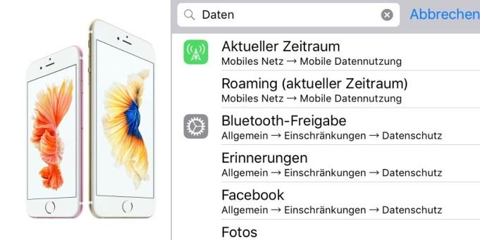 Einstellungen Suche iOS 9