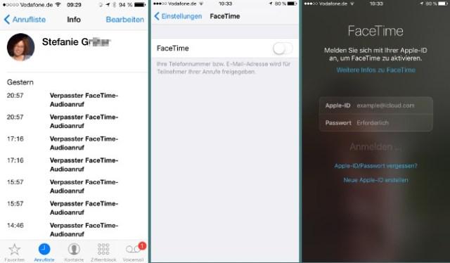 FaceTime Anrufe ohne Aktivierung
