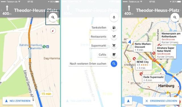 Google Maps Zwischenstopp Supermarkt
