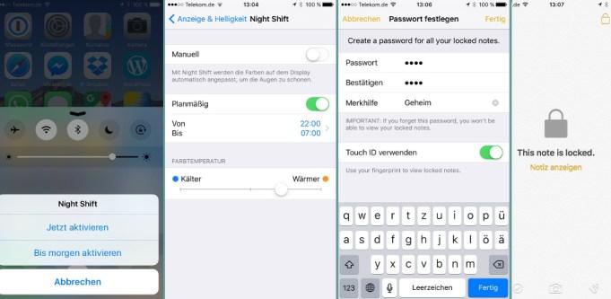 iOS 9.3 Nachtmodus passwortgeschützte Notizen