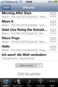 Eine neue Wiedergabeliste für das iPhone einrichten und dann herunterladen