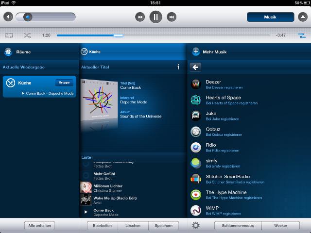Sonos App auf dem iPad mit Auswahl an Musikdiensten