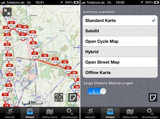 Streckenerfassung und Kartenauswahl in Roadbike von Runtastic