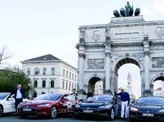 Tesla Supercharger Rallye München Siegestor Ziel