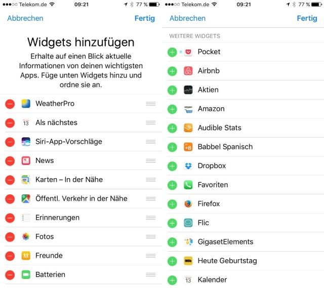Widgets iOS 10 iPhone