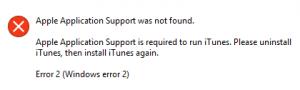 """Fehlermeldung 3: Nichts geht mehr – ohne den Dienst """"Apple Application Support"""" möchte auch iTunes kein Finger rühren."""