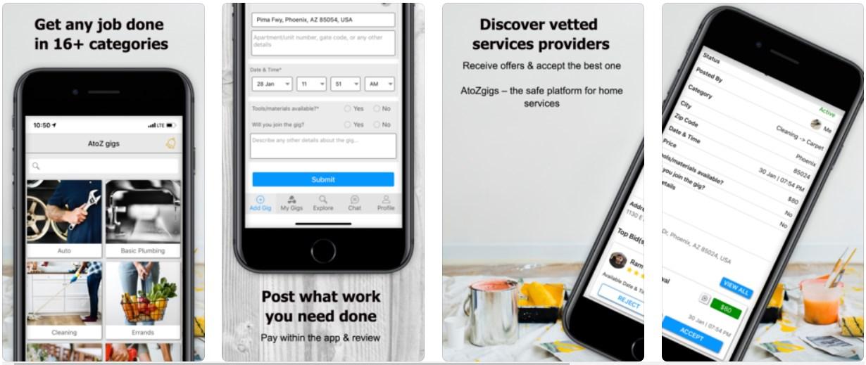 AtoZ Gigs – A Convenient Local Service App     iPhoneGlance
