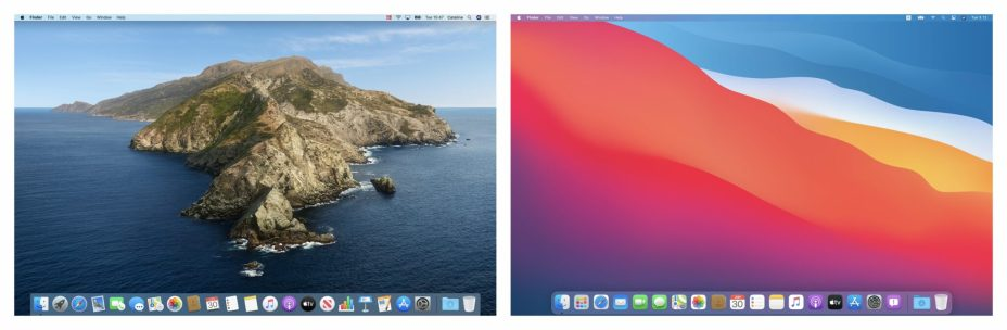 Apple macOS Catalina vs macOS Big Sur - Desktop