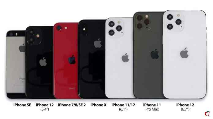 Iphone 12 Lineup Compared With Iphone 11 Pro Pro Max Se X 7 8
