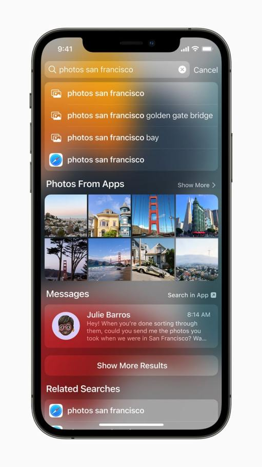 an iPhone screenshot shpwing Spotlight image search results