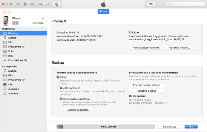 recuperare la password del backup di iPhone