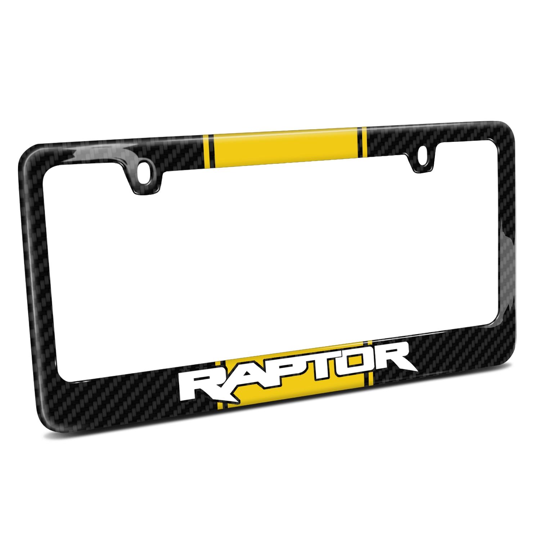 Ford F 150 Raptor Yellow Racing Stripe Black Metal License