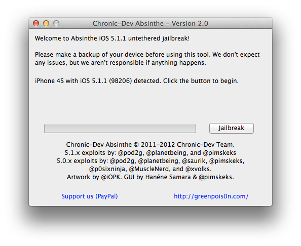 Absinthe 2.0 untethered jailbreak iOS 5.1.1 step 4