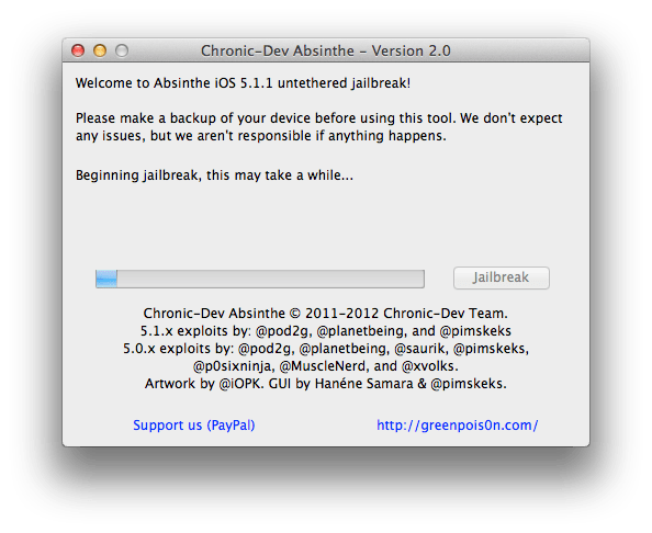 Absinthe 2.0 untethered jailbreak iOS 5.1.1 step 5-1