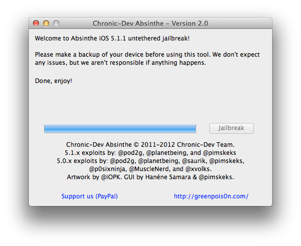 Absinthe 2.0 untethered jailbreak iOS 5.1.1 step 6