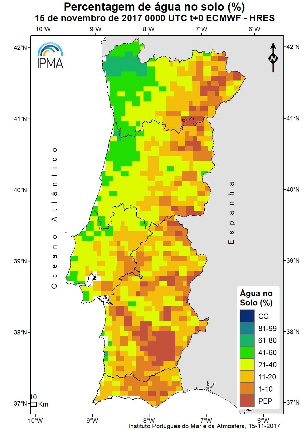 Figura 2, percentagem de água no solo