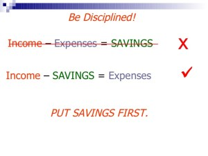 Income-Savings=Expenses