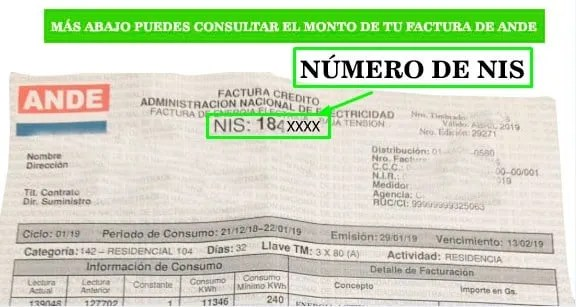 Ande Facturas Paraguay consulta tu factura por numero de nis