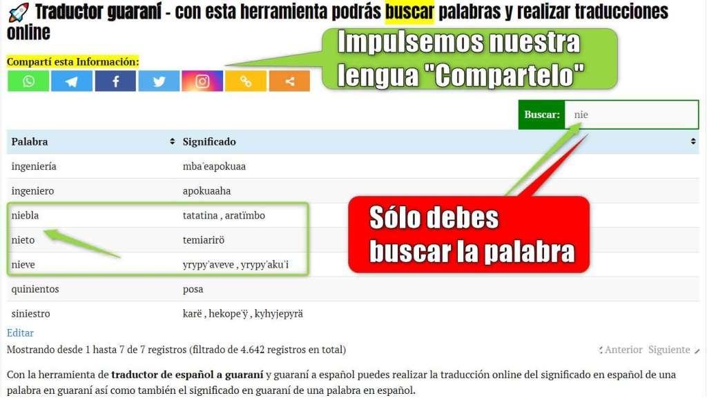 traductor guarani y diccioario guarani traducir palabras en guarani