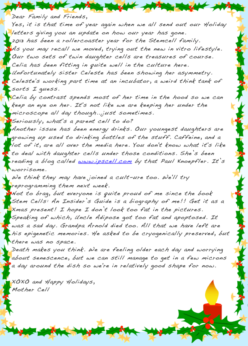 Stem Cell Holiday Letter