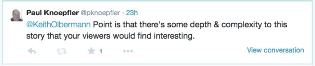 Tweet to Olbermann