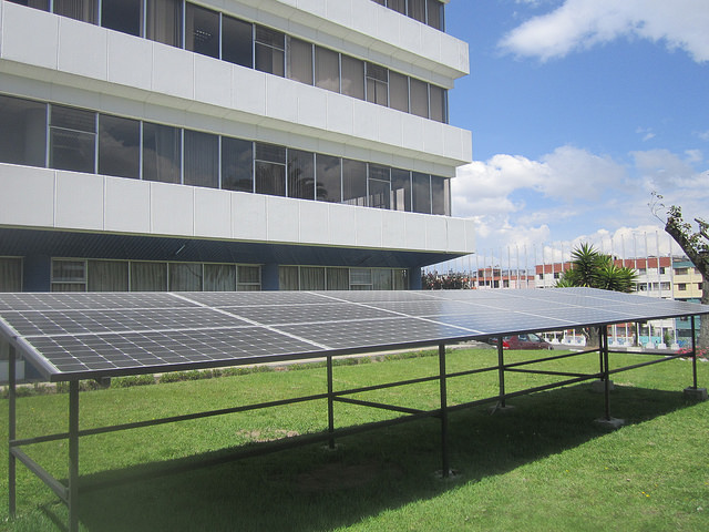 The headquarters of the Latin American Energy Organisation (Olade) in Quito, which brings together 27 countries in the region, is supplied with solar energy through photovoltaic panels installed on the building, in an initiative to promote the use and generation of solar energy among the country member's public institutions. Credit: : Mario Osava/IPS