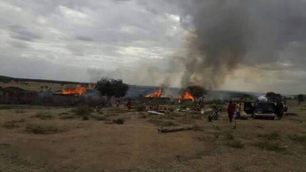 Maasai houses reduce to ashes - August 2017. Photo: IWGIA.