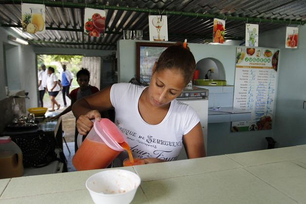 An employee of the juice shop El Framboyán serves a papaya (Carica papaya) juice. Their juices are made with fruits harvested on the Jibacoa farm located nearby in Boyeros, on the southern outskirts of Havana, Cuba. Credit: Jorge Luis Baños/ IPS