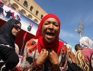 A woman from Tawargha protests at Tripoli's Martyrs Square.  / Credit: Karlos Zurutuza/IPS.
