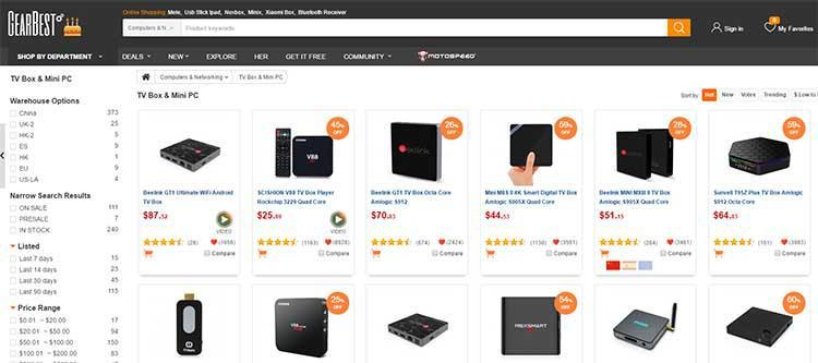 Compre uma caixa de Android barata de gearbest