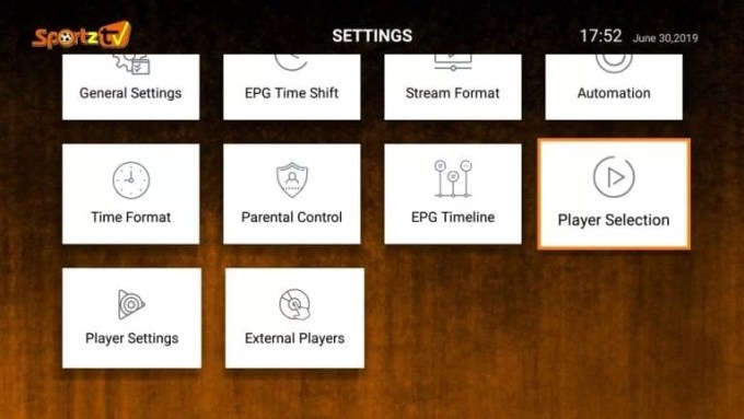 Player Settings option